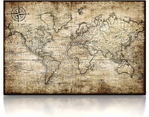CanvasArts Antike Weltkarte 3001 – Leinwand Bild auf Keilrahmen – Vintage 19. Jahrhundert (80 x 60 cm)