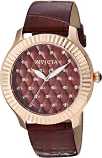 Women's Angel Stainless Steel Quartz Watch with Leather-Synthetic Strap, Brown, 19 (Model: 25745)