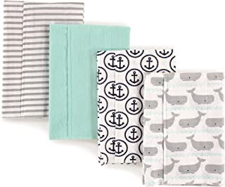 Hudson Baby Unisex Baby Cotton Flannel Burp Cloths, 4-Pack