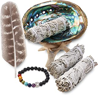 3 White Sage Smudge Gift Kit - Abalone Shell, Feather, Stand, Instructions & More - Smudging, Cleansing, Healing & Stress ...