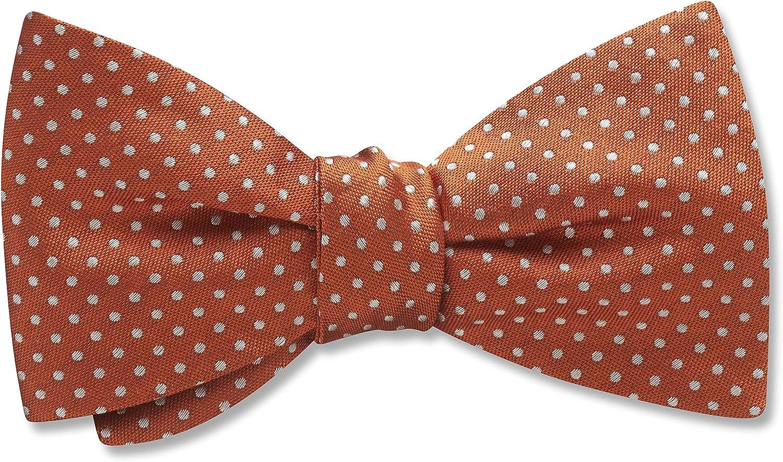 Oriel Sienna Orange,Pink Polka Dot, Men's Bow Tie, Handmade in the USA