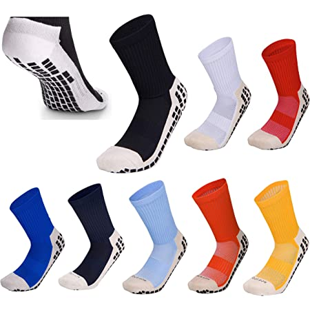 Grip Sox Anti Slip Football Socks Low Calf Non Slip Cushion Crew Sports Grip Socks with Gripping Rubber Pads for Football, Basketball, Soccer, Walking, Running Fit UK size 5.5 to 11 Black White Red Blue Orange Yellow Green