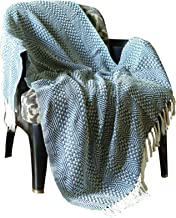 RajRang Indian Decorative Large Rustic Light Weight Cotton Throw Blanket (50 X 60 inches, Teal Blue and White)