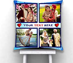 PIXART Satin 4 Photo with Massage Decorative Customized Printed Cushion/Pilow Size (12X12 Inch.)