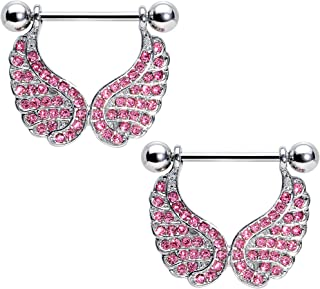 Body Candy Stainless Steel Pink Accent All About Angel Wings Dangle Nipple Shield Set 14 Gauge 3/4