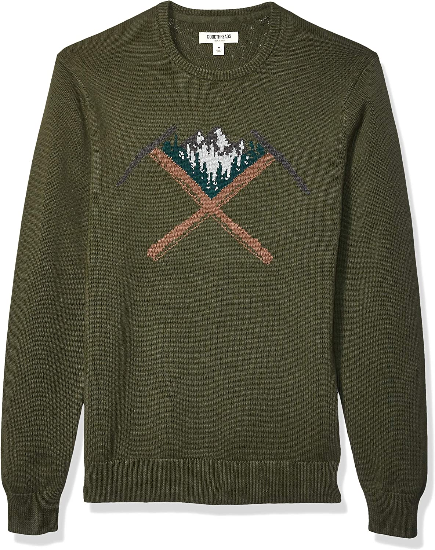 Brand Goodthreads Mens Soft Cotton Graphic Crewneck Sweater