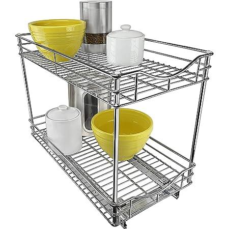 Lynk cajón profesional amasa la Extra profunda para organizar gabinetes 50,8 cm x 53,34 cm x 10,16 cm - con caño extraíble bajo estante del gabinete - organizador deslizable para la cocina, despensa, baño, cuarto de lavado - cromo