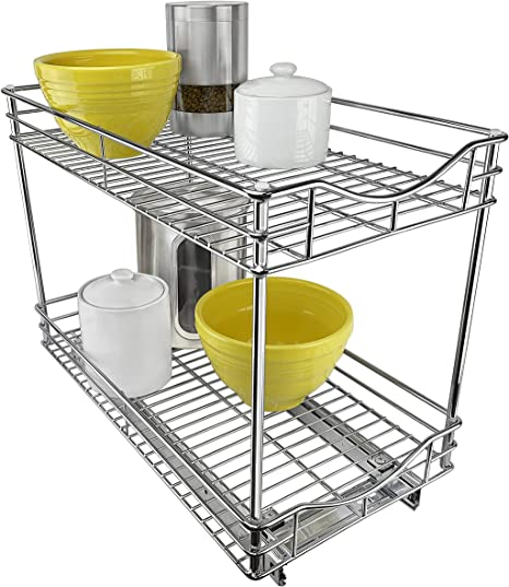 Amazon Com Lynk Professional Double Drawer Pull Out Two Tier Sliding Under Cabinet Organizer 11w X 18d X 16h Inch Chrome Home Kitchen