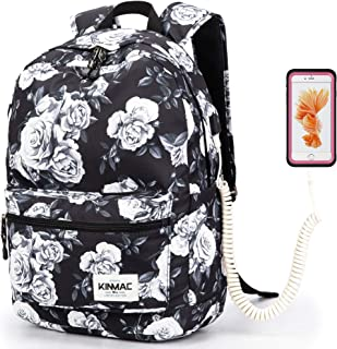 Kinmac White Rose Pattern 15 inch Waterproof Laptop Travel Outdoor Backpack with USB Charging Port for 13 inch 14 inch and 15.6 inch Laptop