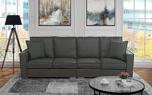 Extra Large Living Room Linen Fabric Sofa 4 Seat Couch Dark Grey