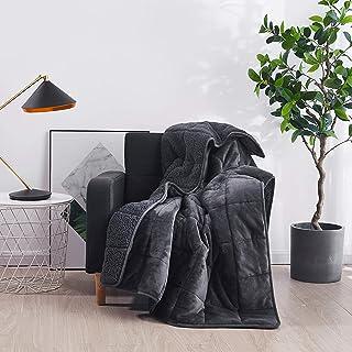 HomeSmart Weighted Throw Blanket for Adults & Kids (Dark Grey 7lbs 48x60) | Super Soft Fleece & Cozy Plush Sherpa Fabric o...