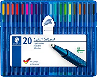 Staedtler Triplus Ball Ballpoint Pen Ergonomic Triangular Shape Made in Germany Set of 20 Brilliant Colours Line Width XB 437 Xbsb20