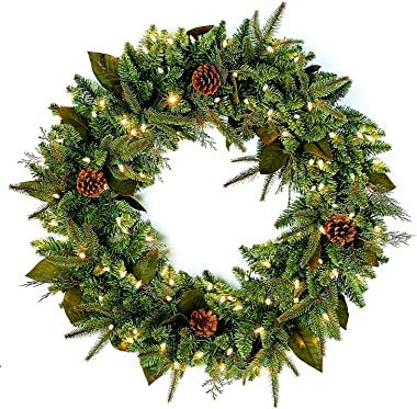 "Bethlehem Lighting GKI Pre-Lit PE/PVC Christmas Wreath with 100 Clear Mini Lights, 30"", Green River Spruce"