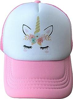 Pink Unicorn Trucker Cap Hat for Kids Girls with Mesh Back
