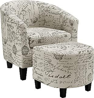 Pulaski Barrel Accent Chair and Ottoman, French Script, 28.5