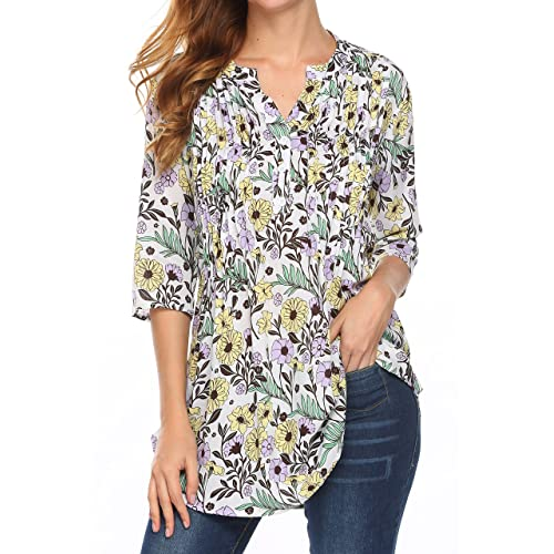 a2d8fa88d1bc3a Womens Floral Printed 3/4 Sleeve Tunic Tops Button Up V-Neck Casual Blouses