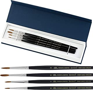Winsor and Newton Series 7 Painting Brushes I 4 pc Round Watercolor Brush Set I 100 Percent Kolinsky Sable Hair Watercolor Paint Brushes I Detail Paint Brush Set Great for Professional or Beginners