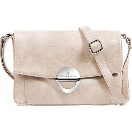 MODERN SHOWS Damen Kleine Umhängetasche Damen 5 hauptfächer Abendtasche Schultertasche Ultra Soft Washed Lederhandtasche Retro Damenhandtasche Henkeltaschen Zip Crossbody Bag Mode (beige)