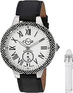 GV2 by Gevril Astor Enamel Womens Diamond Swiss Quartz Black Leather Strap Watch, (Model: 9124)