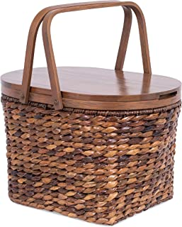 BIRDROCK HOME Seagrass and Abaca Picnic Basket with Wood Lid - Hand Woven - Espresso - Decorative Latch - Wooden Top - Home Décor - Folding Handles