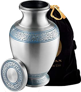 Cremation Urn for Ashes, for Adults up to 200lbs, Funeral Burial Urns w/Satin Bag for Human Ashes. (Silver)