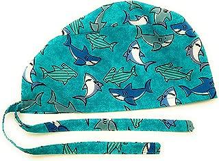 Scrub Hat Sharks Happy Smiling Summer Fabric Nurse Cap Doctor Do-Rag ER Skull