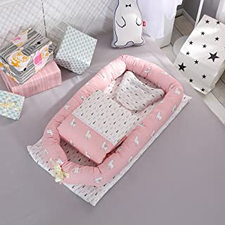 Toys Studio Baby Bassinet for Bed Portable Baby Co-Sleeping Cribs & Cradles Lounger Cushion 100% Cotton Breathable and Hypoallergenic Travel Infant Bed for Newborn 0-24 Months (Alpaca)