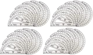 Safe-T Plastic Clear Math Protractors, Bulk Set for Classroom Geometry (Pack of 24)
