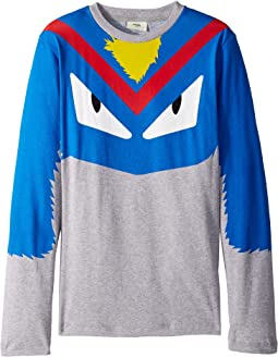 Fendi Kids - Long Sleeve Monster Eyes Graphic T-Shirt (Big Kids)