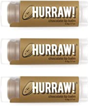 product image for Hurraw! Chocolate Lip Balm, 3 Pack: Organic, Certified Vegan, Cruelty and Gluten Free. Non-GMO, 100% Natural Ingredients. Bee, Shea, Soy and Palm Free. Made in USA