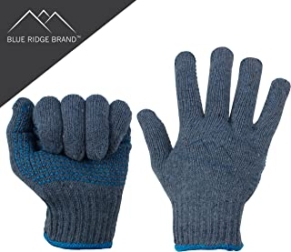 Blue Ridge Brand™ Natural Cotton Work Gloves - 2 Dozen General Purpose PVC Dot Glove - Abrasion Resistant Rubber Grip Gloves - Men's Work Gloves 24 Pack