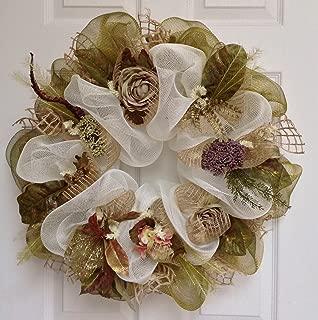 Shades of Green Floral Handmade Deco Mesh Wreath