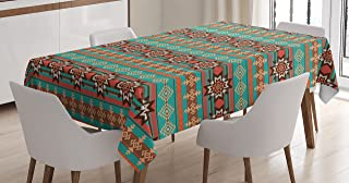 Lunarable Aztec Tablecloth, Horizontal Borders with Abstract Snowflake Motifs Native Folkloric American Art Theme, Dining Room Kitchen Rectangular Table Cover, 60