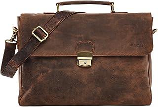 LEABAGS Blackpool Leder-Umhängetasche I Laptoptasche bis 15 Zoll I Messenger Bag aus echtem Büffel-Leder im Vintage Look I Ledertasche I Aktentasche I Arbeitstasche I 38x28x11cm