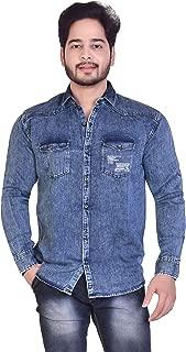 Carbone Color Denim Slim Fit Solid Full Sleeve Shirts for Men's