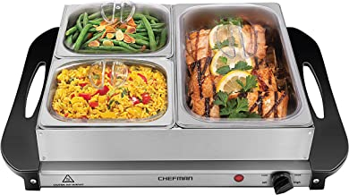 Chefman Electric Buffet Server + Warming Tray w/Adjustable Temperature & 3 Chafing Dishes, Hot Plate Perfect for Holidays,...
