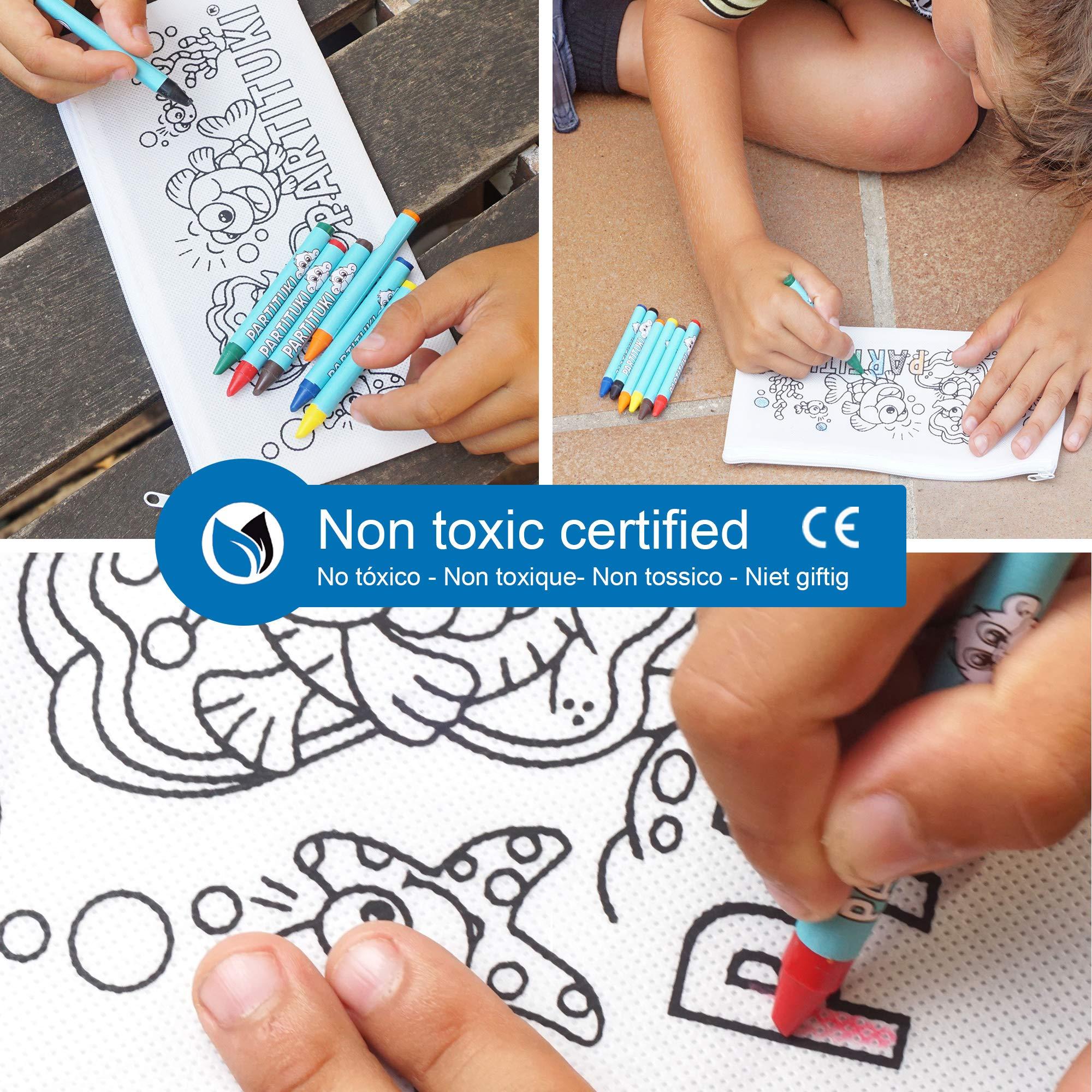 Detalles para Ni/ños Partituki Detalles Fiestas Infantiles 25 Estuches para Colorear y 25 Sets de 7 Ceras de Colores Con Certificado CE de no Toxicidad