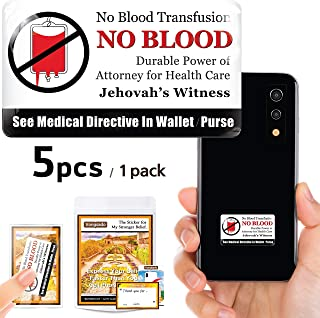 Vongsado -5pcs- No Blood Transfusion Premium 3D Stickers - Accessories of Cell Phone, Ministry Supplies - for JW Gifts, Jehovahs Witnesses, JW.org, Men and Women (Original 5)