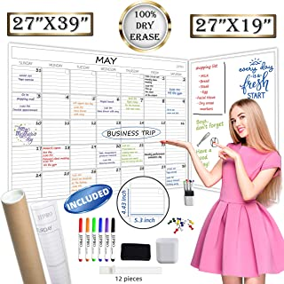 """$27 » Jumbo Dry Erase Wall Calendar - 27""""x39"""" Undated Blank Monthly Planner and 27""""x19"""" Giant Dry Erase Whiteboard Poster Combo..."""