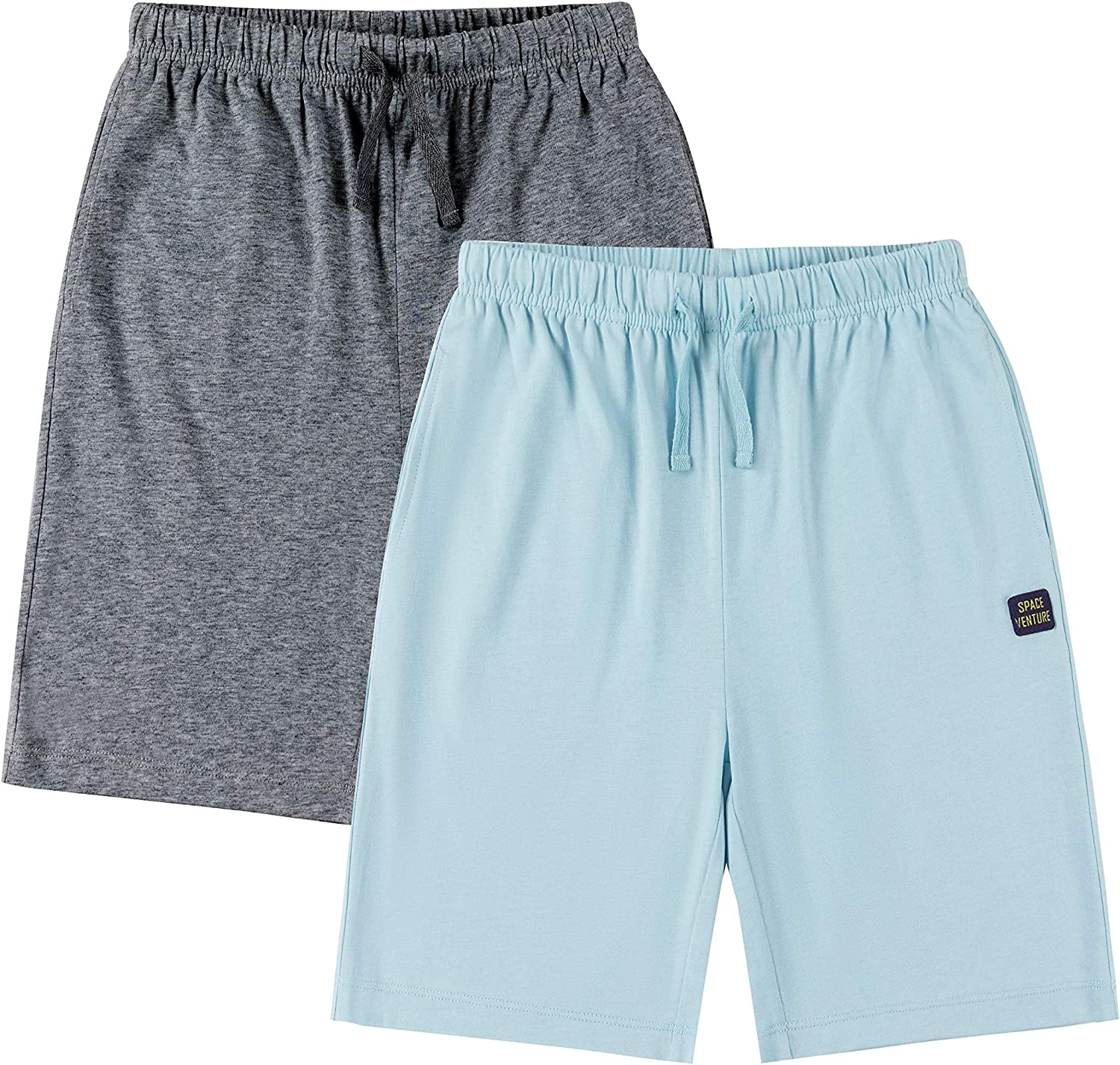 SPACE VENTURE Boys Cotton Shorts with Pockets Girls Athletic Shorts 1 or 2-Packs for Kids 3-12Y