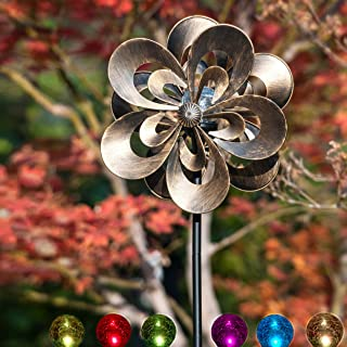 Best SteadyDoggie Solar Wind Spinner Magnolia Multi-Color Seasonal LED Lighting Solar Powered Glass Ball with Kinetic Wind Spinner Dual Direction for Patio Lawn & Garden Review