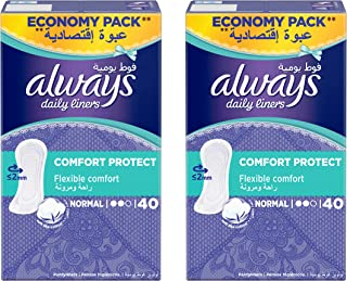 Always Daily Liners Comfort Protect Normal 40 Count Dual Pack