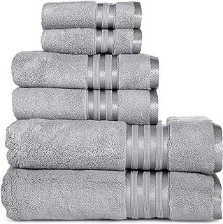 Casa Lino -Premium Quality Zero Twist, Air Soft, 6 Piece Towel Set, 2 Bath Towels, 2 Hand Towels 2 Washcloths, Machine Washable, Hotel Quality, Towel Gift Set- Dove Cotton Collection (Elephant Grey)