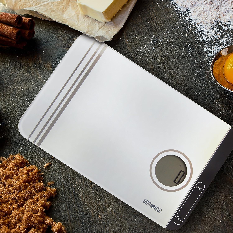 Funzione Tara Superficie in Vetro Alta Precisione Portata 1g // 5 kg Duronic KS885 Bilancia da Cucina Digitale Ultrasottile
