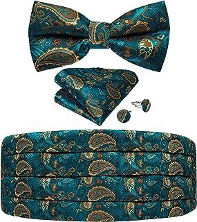 DiBanGu Cummerbund and Bow Tie Set for Men Paisley Floral Cummerbund Bow Tie Pocket Square Cufflinks