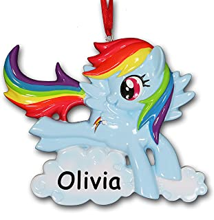 Personalized Officially Licensed My Little Pony Rainbow Dash TV Series Character Hanging Christmas Ornament with Your Custom Name