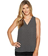 Vince Camuto - Sleeveless Droplet Geo V-Neck Drape Front Blouse