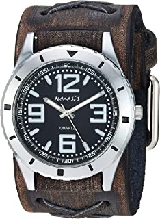 Nemesis ' Sporty Racing' Quartz Stainless Steel and Leather Casual Watch, Color:Brown (Model: KBFXB096B
