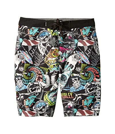 Hurley Kids Sticker Boardshorts (Big Kids) (Black/White) Boy