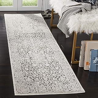 Safavieh Bahira Traditional Area Rug, Woven Polypropylene Runner Carpet in Dark Grey / Cream, 68 X 243 cm